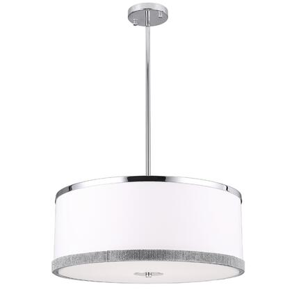 DEV-204P-PC 4 Light Pendant  Polished Chrome Finish  White Shade With Crystal Studded