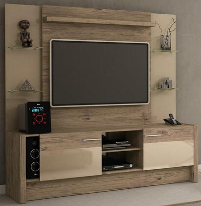 22955 Manhattan Comfort 2- Shelf Morning Side Entertainment Center in Nature and Nude/ Pro 474975
