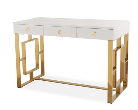 Audrey Collection TOV-H3739 47 inch  Desk with 3 Drawers and Stainless Steel Legs in White