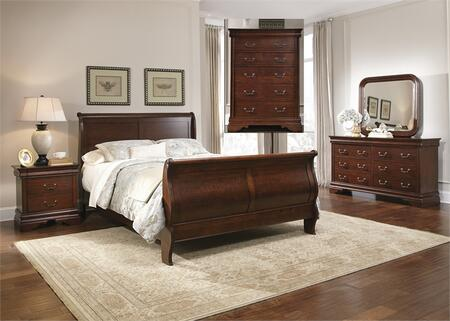 Carriage Court Collection 709-BR-KSLDMCN 5-Piece Bedroom Set with King Sleigh Bed  Dresser  Mirror  Chest and Night Stand in Mahogany Stain