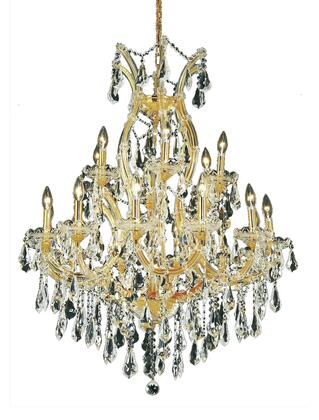 2801D32G/RC 2801 Maria Theresa Collection Hanging Fixture D32in H42in Lt: 18+1 Gold Finish (Royal Cut