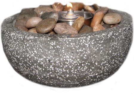 DM-008-FB Rock Stone Fire Pot in Dark Grey with White