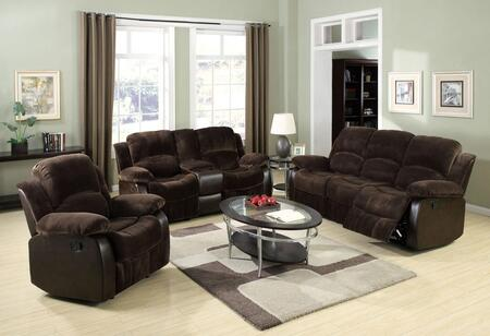 Masaccio 50470SLR 3 PC Living Room Set with Sofa + Recliner + Loveseat with Console in Brown Champion