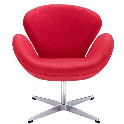 Wing Collection EEI-137-RED Accent Chair with Aluminum Rotating Base  High Density Foam Cushions  Re-Enforced Fiberglass Frame and Wool Upholstery in Red