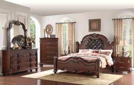Destiny Collection DESTINY KING BED SET 6-Piece Bedroom Set with King Size Bed  Dresser  Mirror  Chest and 2 Nightstands in