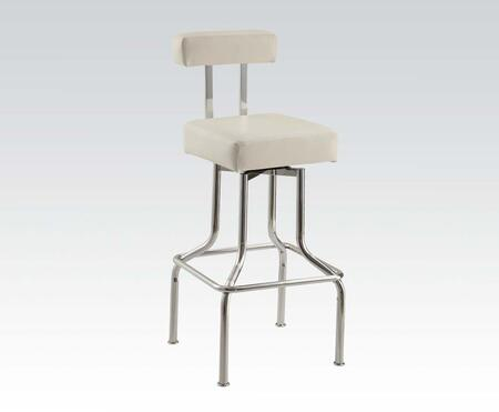 71587 Set of 2 Sheila Bar Stools with Swivel and PU Upholstery in White and