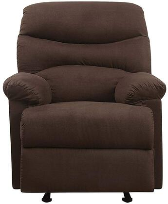 Arcadia Collection 00632 Recliner with Plush Padded Pillow Arms  Split Back Cushion  Metal Reclining Mechanism and Microfiber Upholstery in Chocolate