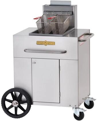"CV-PF-1NG 38"""" Single Tank Outdoor Portable Fryer with 90 000 BTU/H  40 lbs. Capacity  Millivolt Thermostat Control  Two Fry Baskets and Three Heat Exchanger"" 537946"