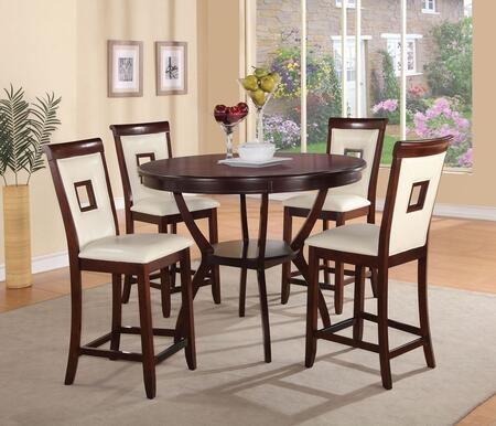 Oswell 71605T4C Bar Table Set with Counter Height Table + 4 Chairs in Cherry