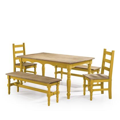 CSJ202 Jay 5-Piece Solid Wood Dining Set with 2 Benches  2 Chairs  and 1 Table in Yellow