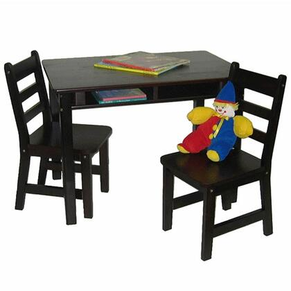 534E Lipper's Rectangular Table with Shelves and 2 Chairs in Espresso
