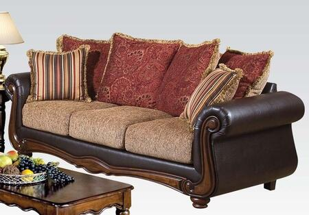 Olysseus Collection 50315 87 inch  Sofa with 6 Pillows  Wood Frame  Fabric and Bycast PU Leather Upholstery in Brown and Floral