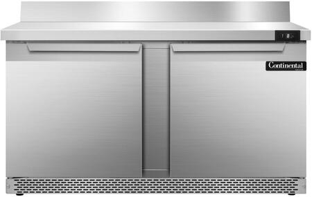 SWF60BSFB 60 inch  Worktop Freezer with 2 Solid Doors  6 inch  Backsplash  17 Cu. Ft. Capacity  Front Breathing Compressor  Aluminum Interior  Interior Hanging
