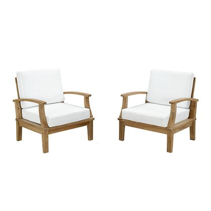 Marina Collection EEI-1819-NAT-WHI-SET 2 Piece Outdoor Patio Sofa Set with Solid Teak Wood Construction  Machine Washable Covers  Water and UV Resistant