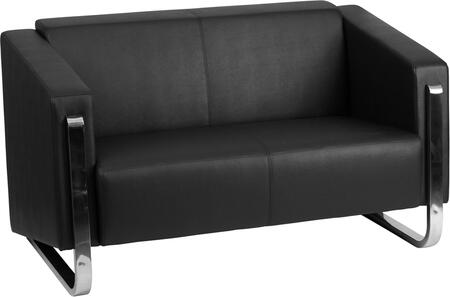 ZB-8803-2-LS-BK-GG Hercules Gallant Series Contemporary Black Leather Loveseat with Stainless Steel