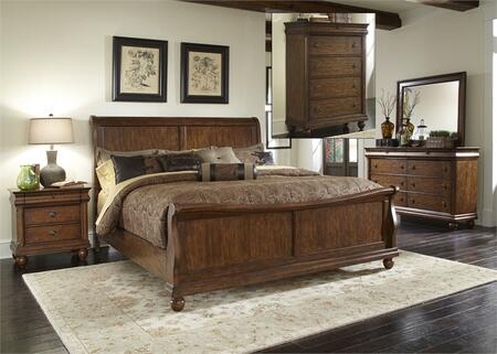 Rustic Traditions Collection 589-BR-QSLDMCN 5-Piece Bedroom Set with Queen Sleigh Bed  Dresser  Mirror  Chest and Night Stand in Rustic Cherry