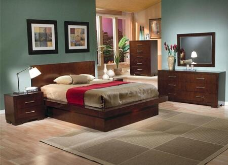 Jessica Collection 200711keset 6 Pc Bedroom Set With Eastern King Size Bed + Dresser + Mirror + Chest + 2 Nightstands In Cappuccino