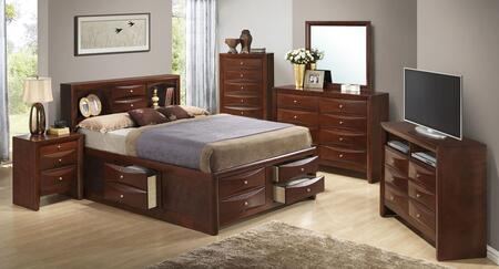 G1550gfsb3set 6 Pc Bedroom Set With Full Size Storage Bed + Dresser + Mirror + Chest + Nightstand + Media Chest In Cherry