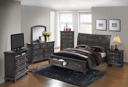 G7015A-FSBDMNCMC 6-Piece Bedroom Set with Full Storage Bed + Dresser + Mirror + Single Nightstand + Chest + Media