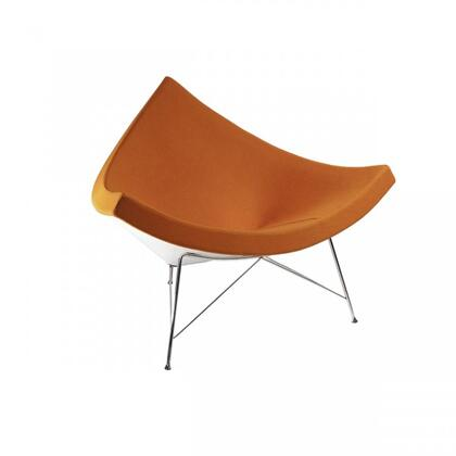 Coconut FEC3417DORG Chair with Stainless Steel Legs  Fiberglass Frame and Fabric Upholstery in Dark Orange and