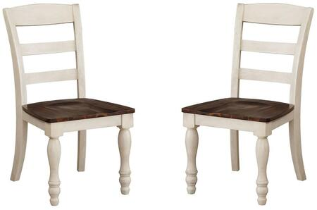 Britta Collection 71772 Set of 2 Side Chairs with Ladder Backrest  Scopped Seat  Farmhouse Style  Acacia Wood Construction  Turned and Tapered Legs in Walnut