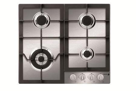 FA-640STX 24 Gas Cooktop With 4 Gas Burners  Electronic Ignition  2 Cast Iron Enameled Grate  Triple Crown Burner & In Stainless