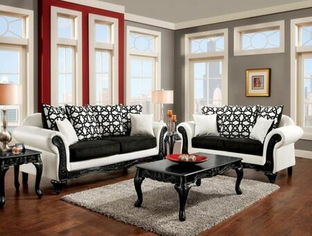 Dolphy Collection SM7600-SL 2-Piece Living Room Set with Stationary Sofa and Loveseat in Black and