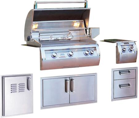 Grill Package with E660I4A1N Built In Natural Gas Grill  32814 Double Side Burner  53802SC 15