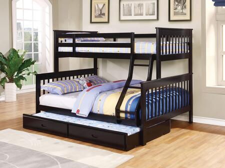 Chapman Collection 460259+400322 Twin over Full Size Bunk Bed with Trundle  Separable Beds  Clean Line Design  Slatted Headboards and Footboards  Built-In