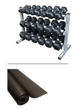 SDRS550-GDR363-RF34B Strength Training Set with Black Hex Rubber Dumbbell Set