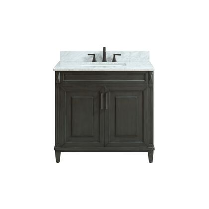 STERLING-VS36-CL-C Sterling 37 inch  Vanity in Charcoal Finish with Carrera White Marble