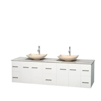 Wcvw00980dwhcmgs5mxx 80 In. Double Bathroom Vanity In White  White Carrera Marble Countertop  Arista Ivory Marble Sinks  And No