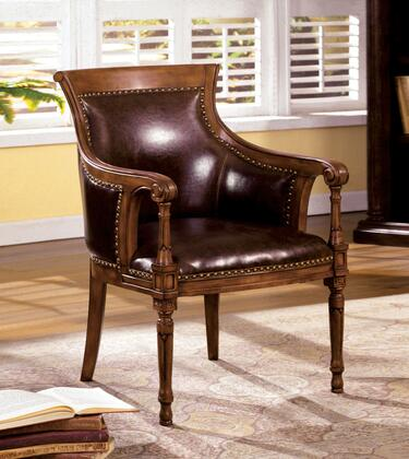 Kirklees CM-AC6407-Kirklees Accent Chair with Curved Scroll Back  Solid Wood and Others  Dark Brown Bonded Leather  Distressed Antique Oak Finish in Distressed