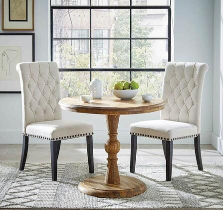 Joliet Collection 108591-S3 3-Piece Dining Room Set with Round Dining Table and 2 Side Chairs in Natural Mango and