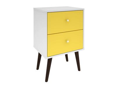 """Liberty 2.0 Collection 204AMC63 18"""" Mid Century - Modern Nightstand with 2 Full Extension Drawers and Solid Wood Legs in White and"""