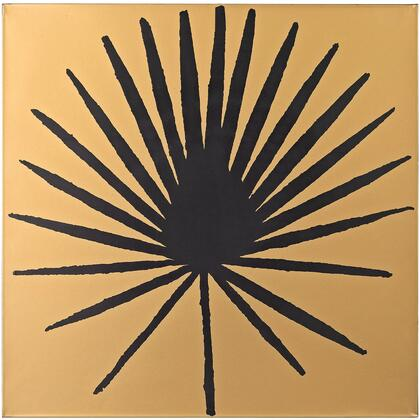 Wall Decor Collection 351-10169 20 Wall Decor with Palm Frond Design  Metallic Look  Square Shape and Metal Material in Gold and Black