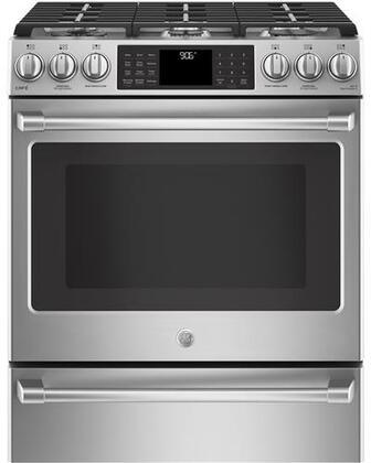 CGS986SELSS 30 inch  Slide In Front Control Gas Range with Warming Drawing  5.6 cu. ft. Capacity  21 000 BTU Multi-Ring Burner  Wi-Fi Connect  Chef Connect  and