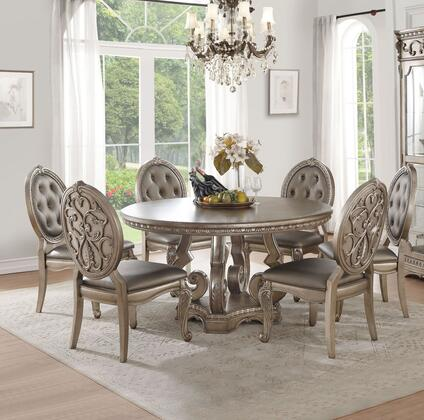 Northville Collection 669157SET 7 PC Dining Room Set with Round Shaped Dining Table  2 Arm Chairs and 4 Side Chairs in Antique Champagne