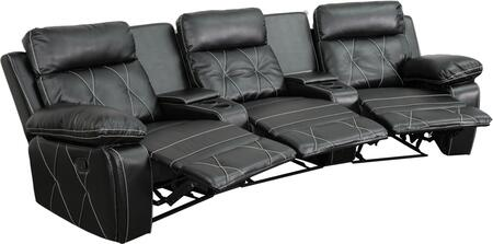BT-70530-3-BK-CV-GG Real Comfort Series 3-Seat Reclining Black Leather Theater Seating Unit with Curved Cup 548623
