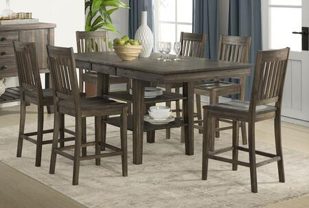 Huron Collection HURWRGT6SBS 7-Piece Dining Room Set with Gather Height Leg Table and 6x Slatback Barstools in Weathered Russet