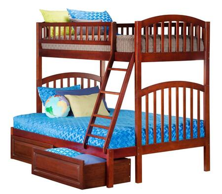 Richland AB64224 Twin Over Full Bunk Bed With Raised Panel Bed Drawers In Antique