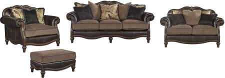 Winnsboro Collection 55602SLCO 4-Piece Living Room Set with Sofa  Loveseat  Chair and a Half and Ottoman in