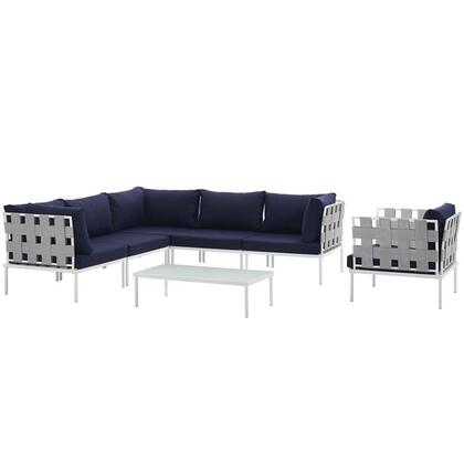 Harmony Collection EEI-2620-WHI-NAV-SET 7-Piece Outdoor Patio Aluminum Sectional Sofa Set with Armchair  Coffee Table  3 Corner Sofas and 2 Armless Chairs in
