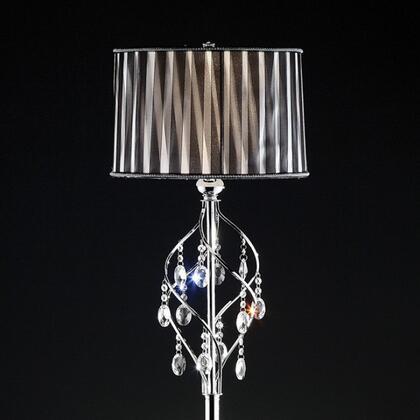 Arya L95123F Floor Lamp with Crystal Lamp  Metal base  Black Sheer Ribbon shade: 15