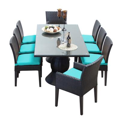 Napa-rectangle-kit-6adc2dcc-aruba Napa Rectangular Outdoor Patio Dining Table With 6 Armless Chairs And 2 Chairs W/ Arms With 2 Covers: Wheat And