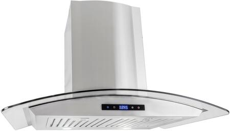 668AS75-CFM 30 inch  Glass Canopy Chimney Wall Range Hood with 380 CFM  3 Speed Control  LED Lighting and Dishwasher Safe Baffle Filters  in Stainless