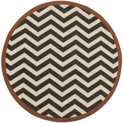 Alfresco ALF9646-73RD 7'3 inch  Round 100% Polypropylene Rug with Low Pile  Loop Texture  and Machine Made in Egypt in Black and
