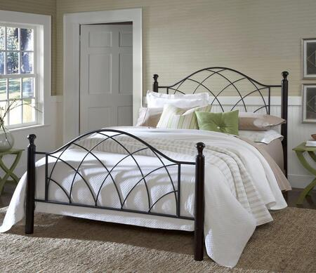 1764BTW Vista Twin Size Poster Bed Set with Rails Not Included  Black Turned Posts and Tubular Steel Construction in Metallic