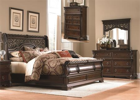Arbor Place Collection 575-BR-KSLDMC 4-Piece Bedroom Set with King Sleigh Bed  Dresser  Mirror and Chest in Brownstone