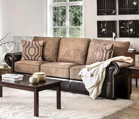 Ceuta CM6522-SF Sofa with Rolled Arms  Nail Head Accents  Chenille Fabric and Leatherette Upholstery in Brown and